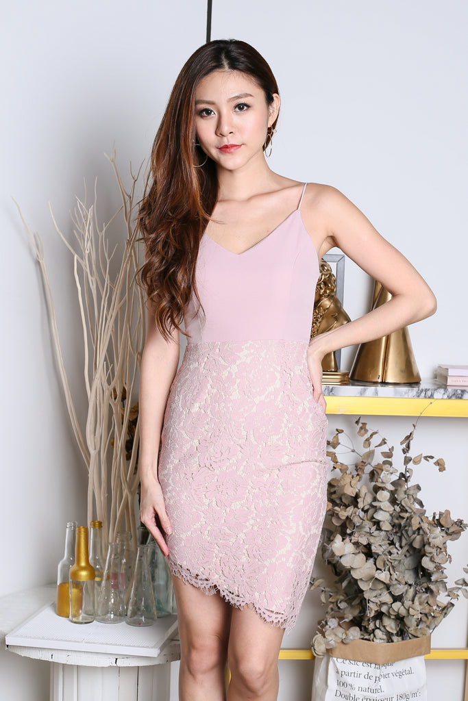 *TOPAZ* (PREMIUM) DONNA LACE ASYMMETRICAL DRESS IN DUSTY PINK - TOPAZETTE