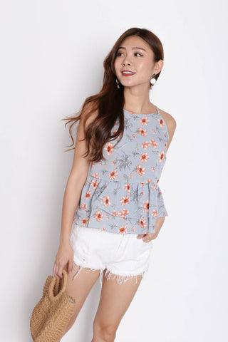 FLORAL BABYDOLL PEPLUM TOP IN DUSTY BLUE