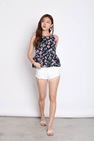FLORAL BABYDOLL PEPLUM TOP IN NAVY