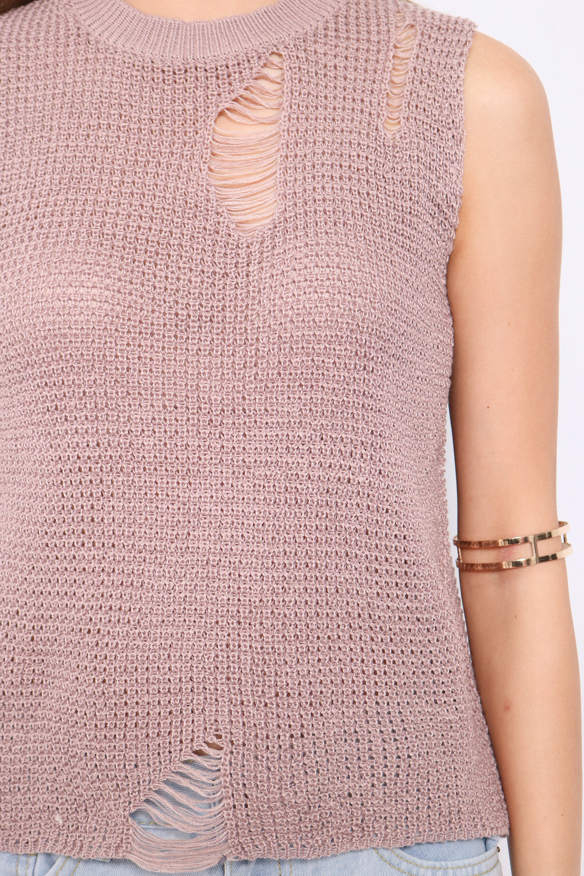 RIPPED KNIT TOP IN PURPLE