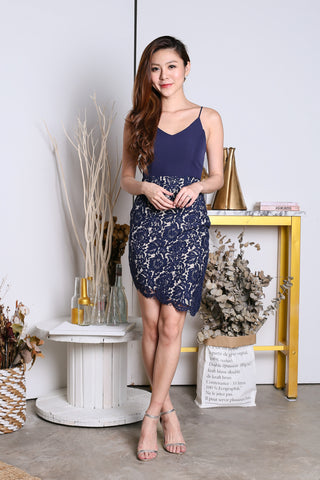 *TOPAZ* (PREMIUM) DONNA LACE ASYMMETRICAL DRESS IN NAVY