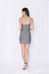 JOAI CROSS WRAP BODYCON DRESS IN ASH GREY