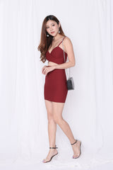 JOAI CROSS WRAP BODYCON DRESS IN WINE