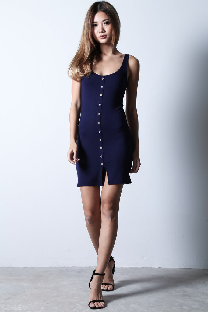 (BACKORDER) BUTTONED DOWN DRESS IN NAVY - TOPAZETTE