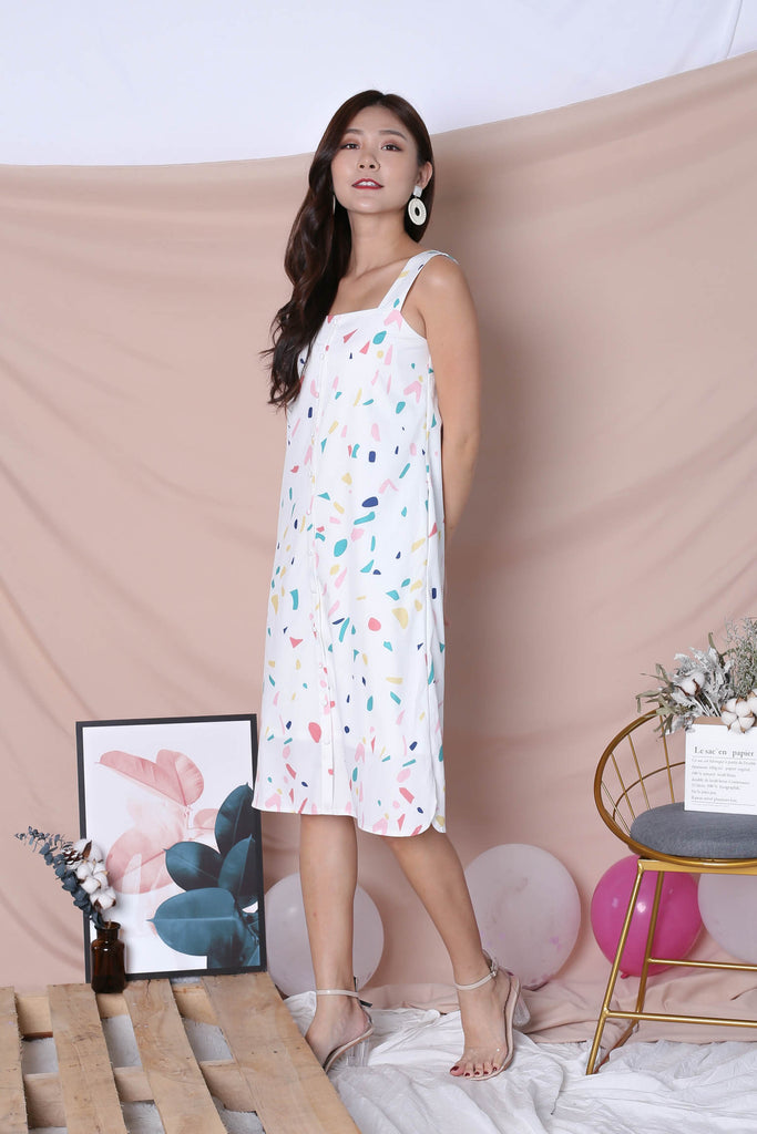(PREMIUM) CONFETTI BUTTON DOWN DRESS IN WHITE - TOPAZETTE