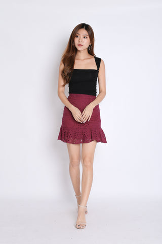 *TPZ* (PREMIUM) DAVINA EYELET SKIRT IN WINE