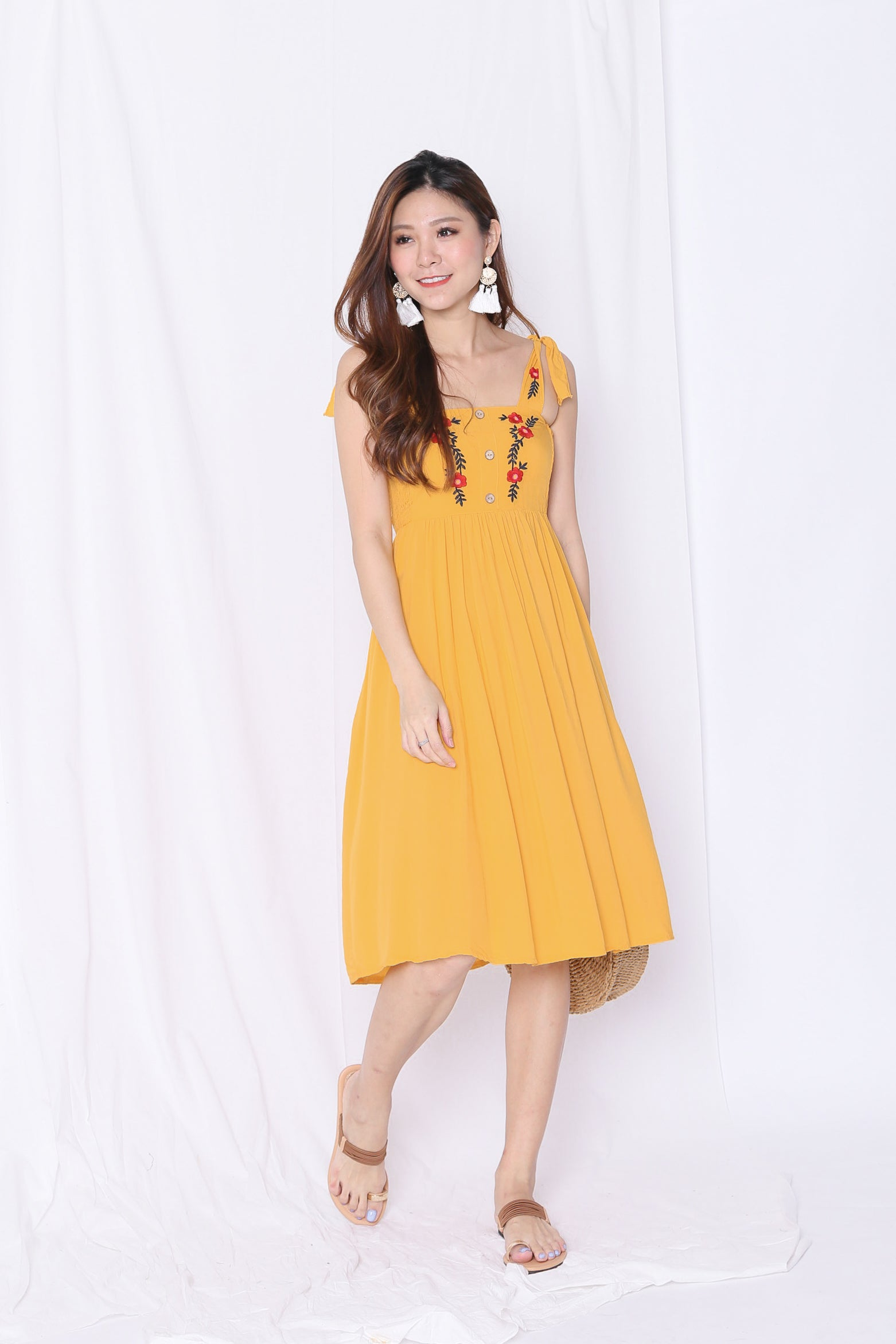 BETHEL EMBROIDERY DRESS IN MARIGOLD