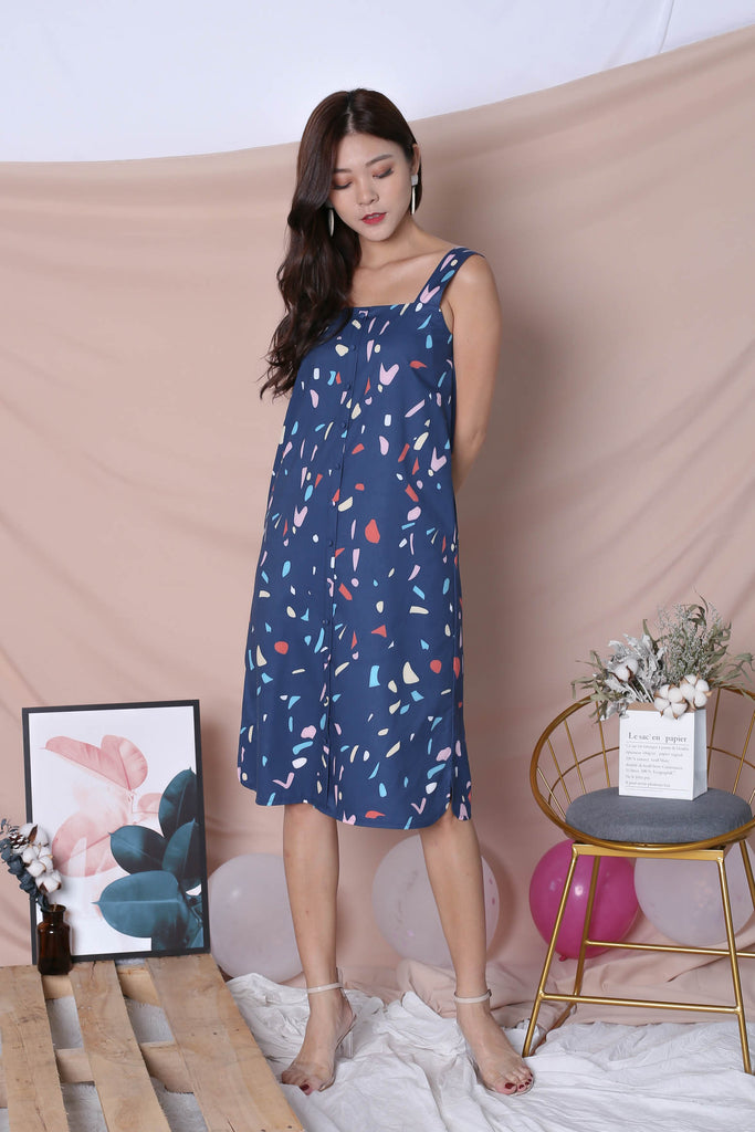 (PREMIUM) CONFETTI BUTTON DOWN DRESS IN NAVY - TOPAZETTE