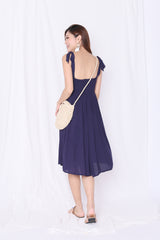 BETHEL EMBROIDERY DRESS IN NAVY