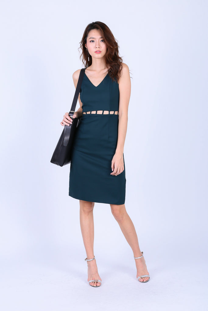 (RESTOCKED) *TOPAZ* (PREMIUM) BRAE MIDI DRESS IN FOREST GREEN - TOPAZETTE