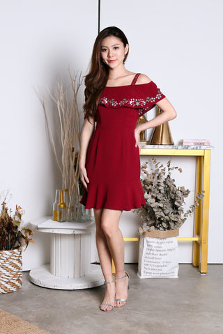 *PREMIUM* MIYA EMBROIDERY MERMAID DRESS IN WINE