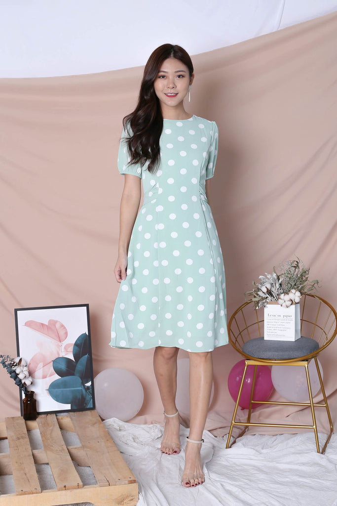 (PREMIUM) POLKA DOT SLEEVE TIE DRESS IN SAGE GREEN - TOPAZETTE