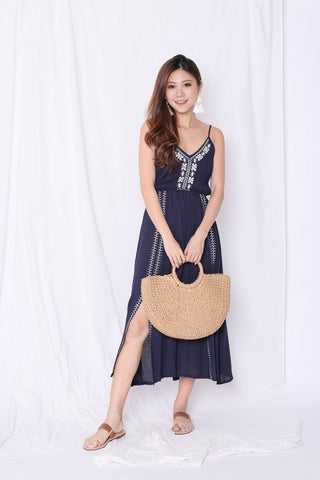 SELENZ EMBROIDERY MAXI IN NAVY