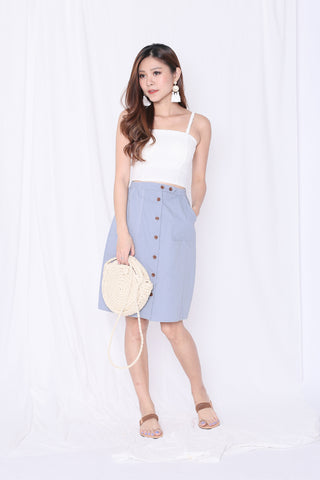 GABBY BUTTON DOWN MIDI SKIRT IN DUSTY BLUE