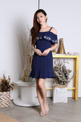 *PREMIUM* MIYA EMBROIDERY MERMAID DRESS IN NAVY