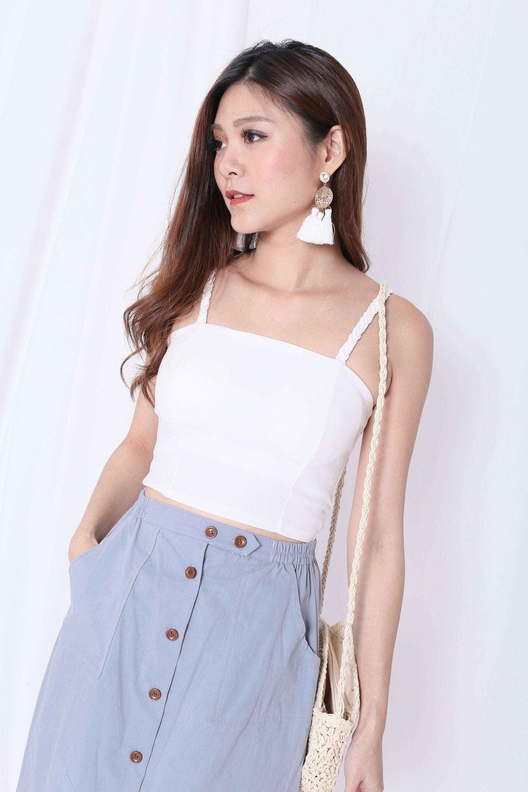 *BACKORDER* BRAIDED BASIC CROP TOP IN WHITE