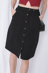 GABBY BUTTON DOWN MIDI SKIRT IN BLACK