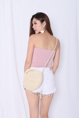 BASIC FAUX BUTTON TUBE TOP IN PINK