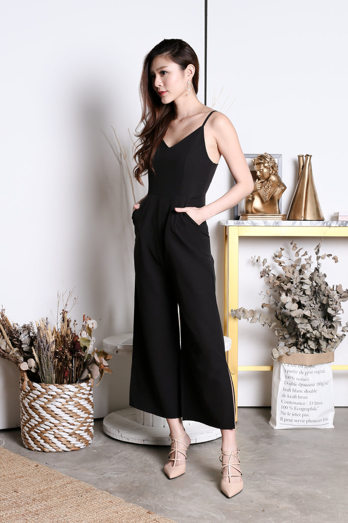 *TOPAZ* (PREMIUM) CAYLA JUMPSUIT IN BLACK - TOPAZETTE