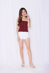 BASIC FAUX BUTTON TUBE TOP IN BURGUNDY