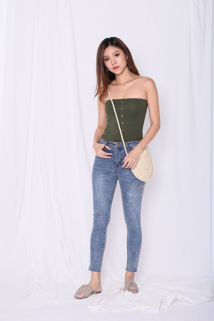 BASIC FAUX BUTTON TUBE TOP IN ARMY GREEN - TOPAZETTE