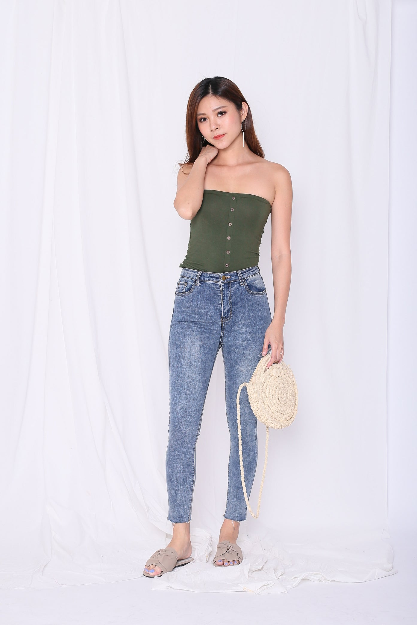 aa92ec33e3 BASIC FAUX BUTTON TUBE TOP IN ARMY GREEN – TOPAZETTE