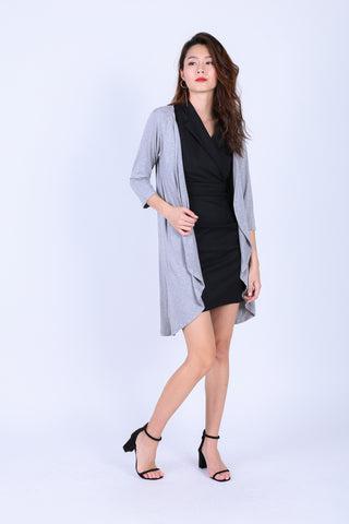 EVERYDAY COTTON LONGLINE CARDIGAN IN LIGHT GREY