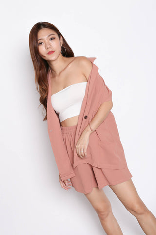 REV TRENCH TOP + SHORTS SET IN DUSTY PINK