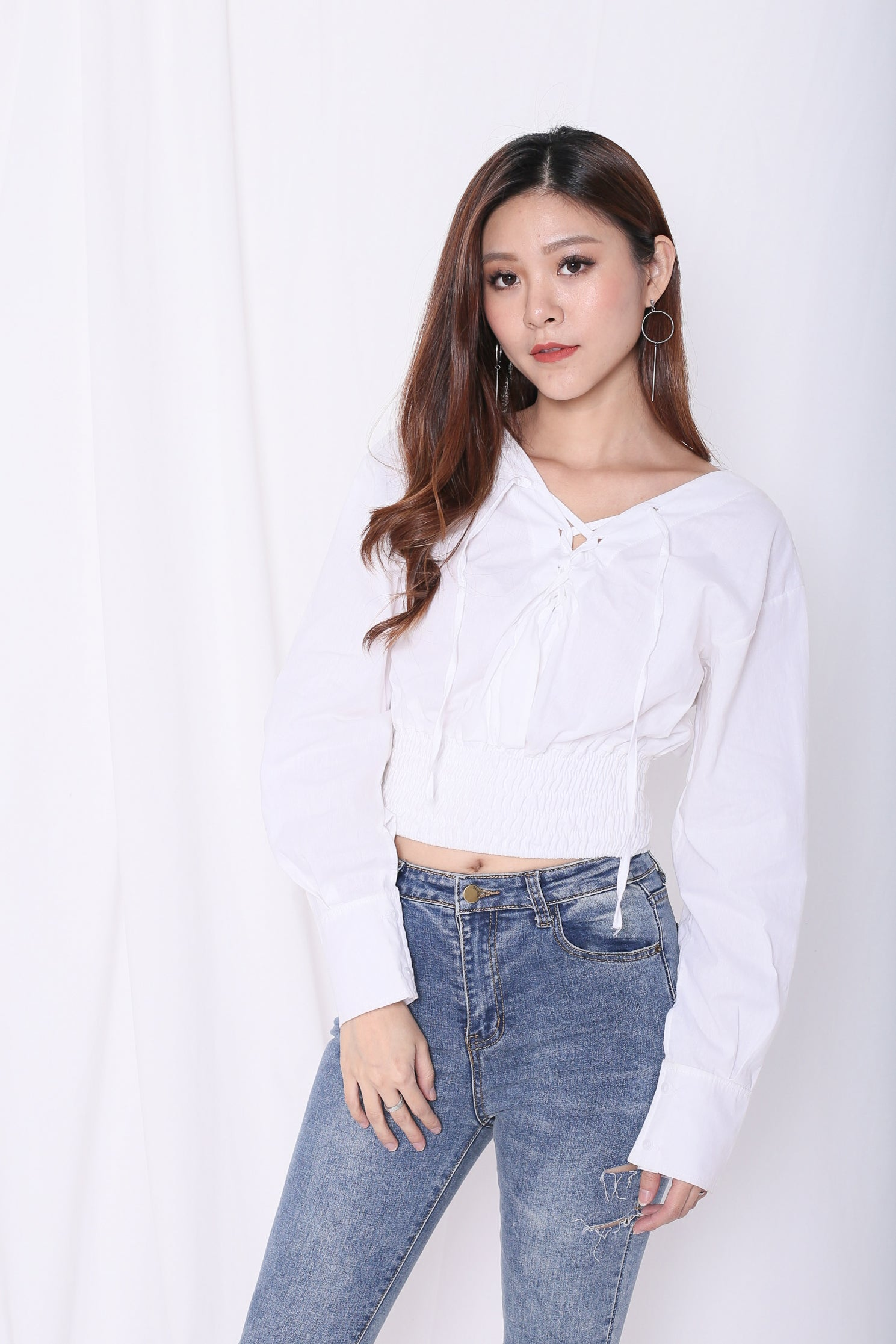 NOT SO BASIC LACED TOP IN WHITE