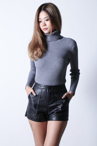 COSMIC LEATHER SHORTS WITH POCKETS - TOPAZETTE