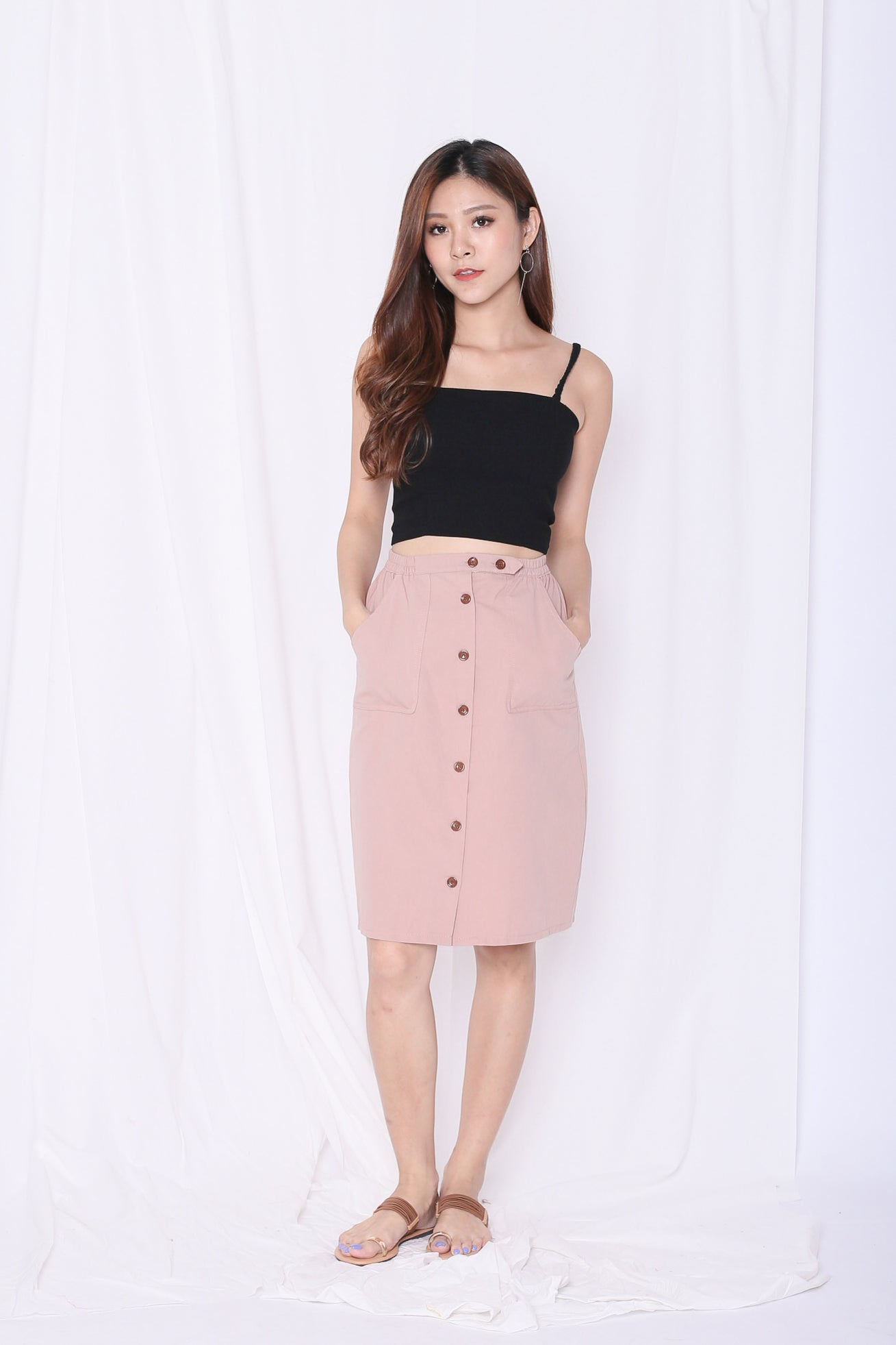 GABBY BUTTON DOWN MIDI SKIRT IN NUDE PINK