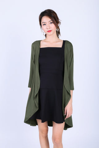 *BACKORDER* EVERYDAY COTTON LONGLINE CARDIGAN IN OLIVE