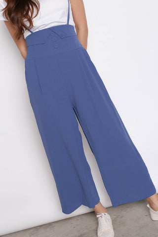 GITEL BUTTON DUNGAREE SET IN AZURE BLUE