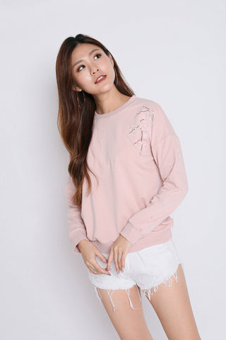 PRETTY SAKURA EMBROIDERY PULLOVER IN DUSTY PINK