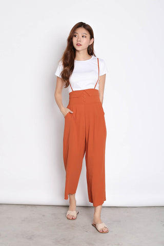 GITEL BUTTON DUNGAREE SET IN TERRACOTTA