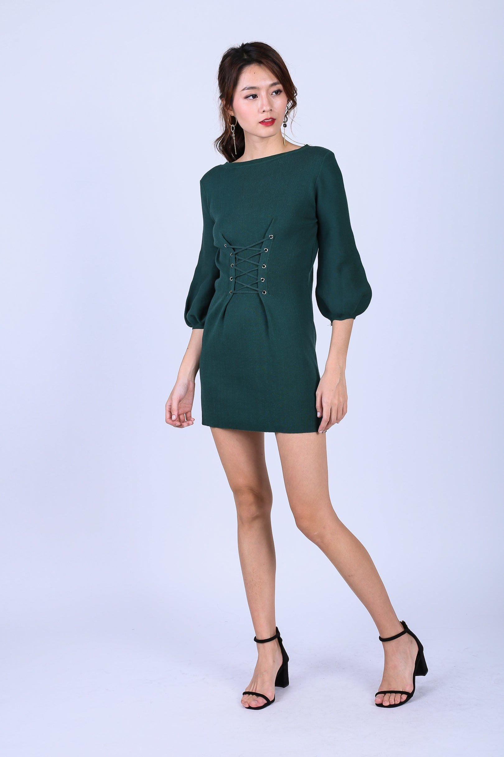 GWENYTH LACED KNIT DRESS IN FOREST