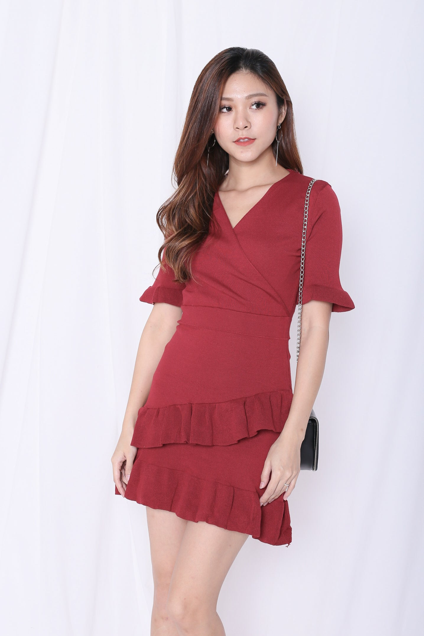GYPSY RUFFLES KNIT DRESS IN WINE