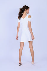 *TOPAZ* (PREMIUM) ALDYS COLD SHOULDER SKATER DRESS IN WHITE
