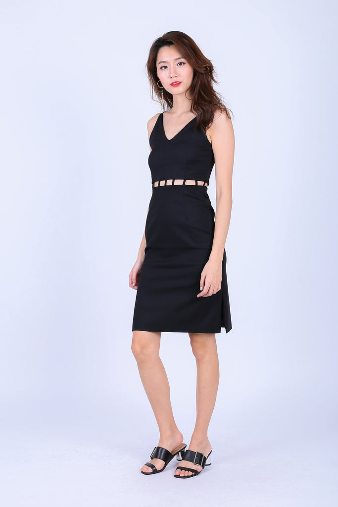 (RESTOCKED) *TOPAZ* (PREMIUM) BRAE MIDI DRESS IN BLACK - TOPAZETTE