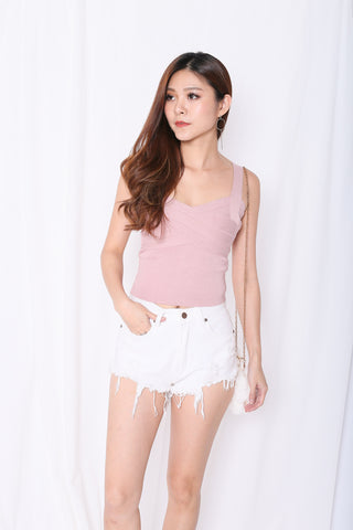 cd131476ee7f2 BASIC BANDAGED KNIT TOP IN DUSTY PINK