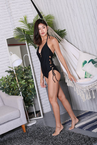 *BACKORDER* ERI LACED UP MONOKINI (BLACK)