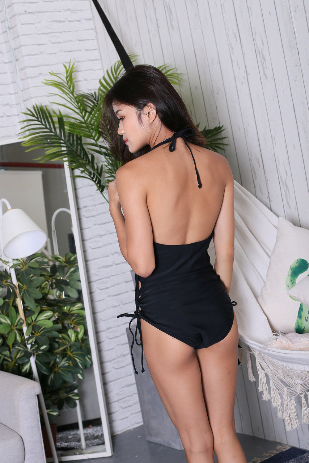 ERI LACED UP MONOKINI (BLACK)