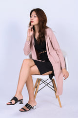 SOFT KNIT LONGLINE CARDIGAN IN DUSTY PINK