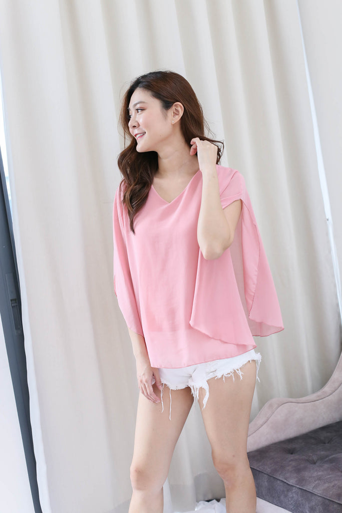BASIC FLUTTER CAPE TOP IN PINK