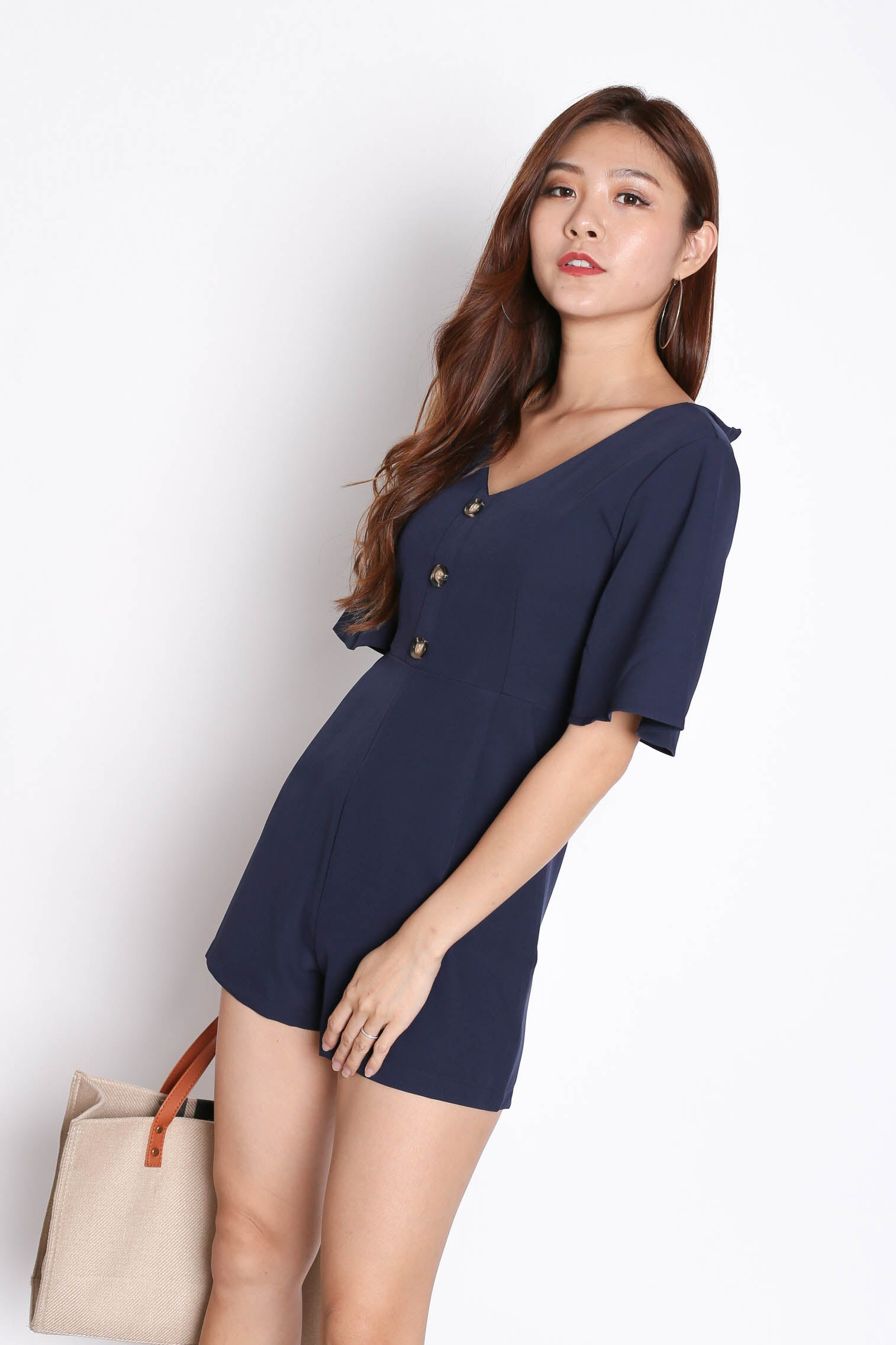 fd8a67834769 *TPZ* (PREMIUM) ZARA BUTTON ROMPER IN NAVY – TOPAZETTE