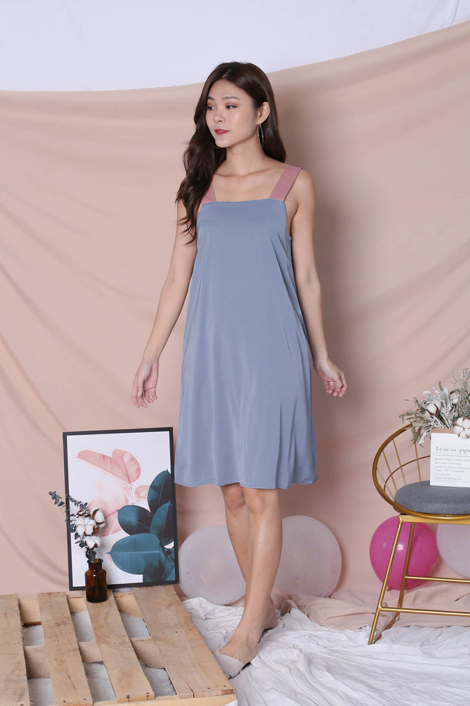 *TPZ* (PREMIUM) HELLIZ COLOURBLOCK STRAP DRESS (PINK/ STALE BLUE) - TOPAZETTE
