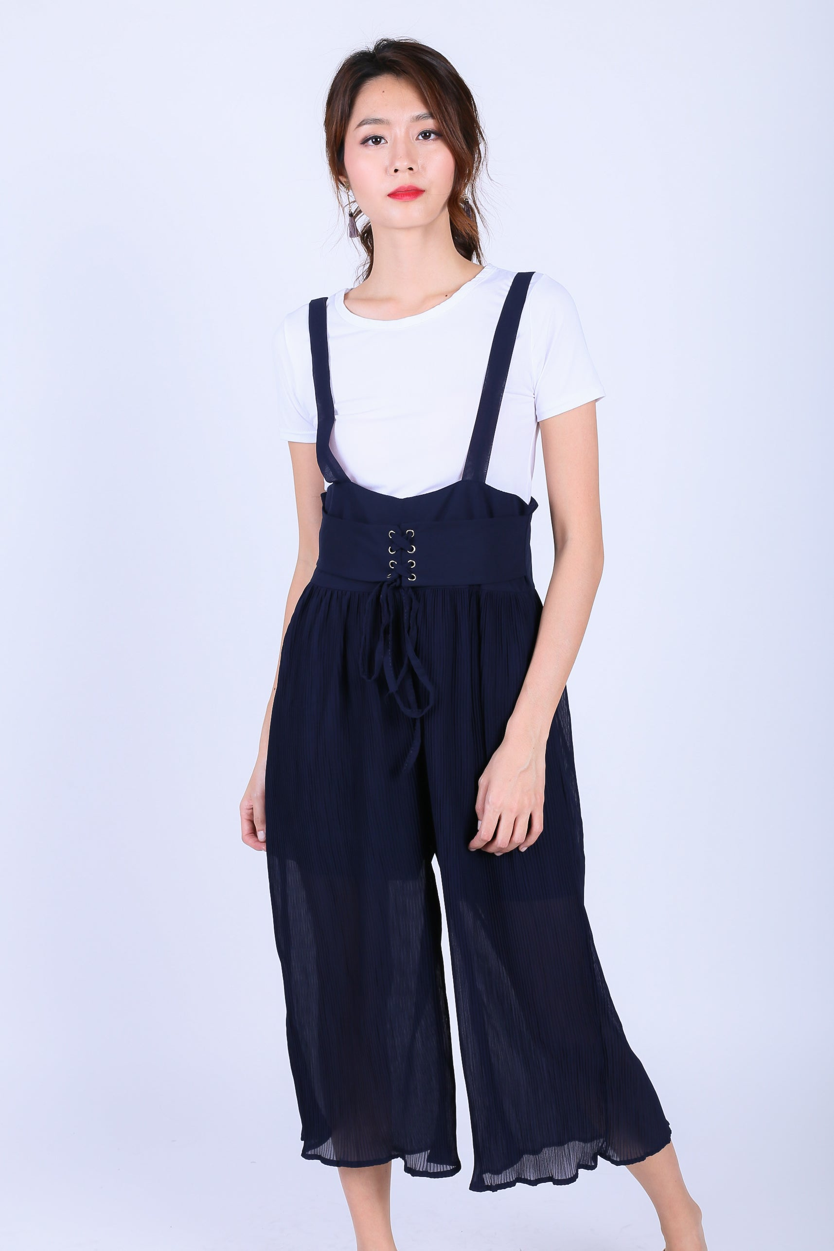 KEMI PLEATED JUMPSUIT SET IN NAVY