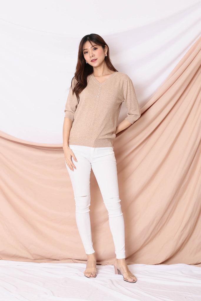 NORA KNIT TOP IN MALT