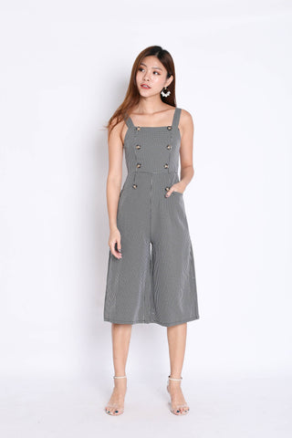 (PREMIUM) ULLA BUTTON GINGHAM CULOTTES JUMPSUIT IN BLACK