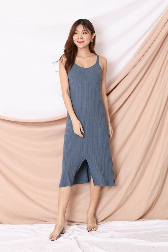VALERIE KNIT DRESS IN BLUE